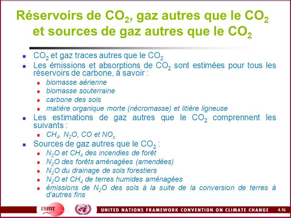 4.16 Réservoirs de CO 2, gaz autres que le CO 2 et sources de gaz autres que le CO 2 CO 2 et gaz traces autres que le CO 2 Les émissions et absorption