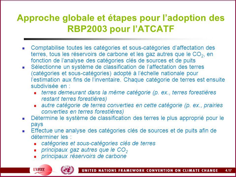 4.17 Approche globale et étapes pour ladoption des RBP2003 pour lATCATF Comptabilise toutes les catégories et sous-catégories daffectation des terres,
