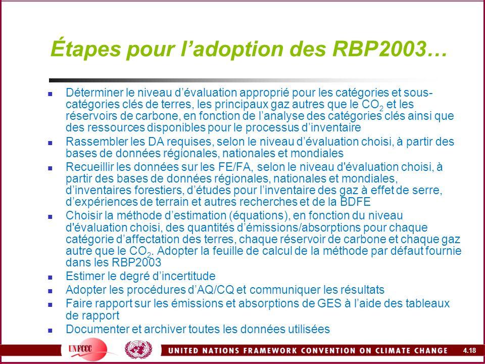4.18 Étapes pour ladoption des RBP2003… Déterminer le niveau dévaluation approprié pour les catégories et sous- catégories clés de terres, les princip