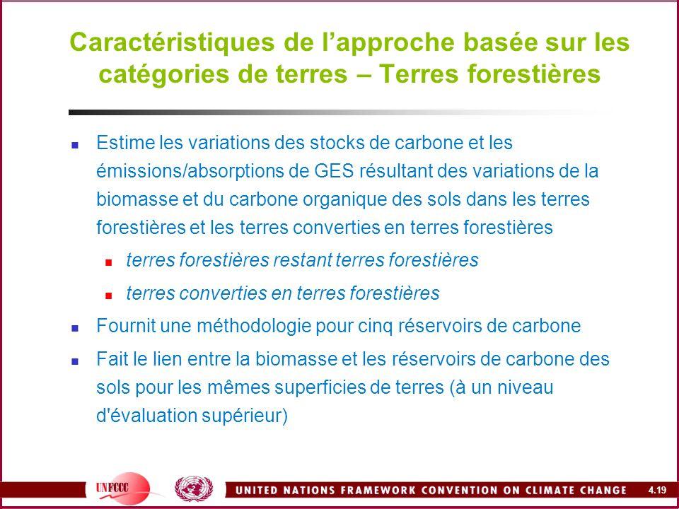4.19 Caractéristiques de lapproche basée sur les catégories de terres – Terres forestières Estime les variations des stocks de carbone et les émission