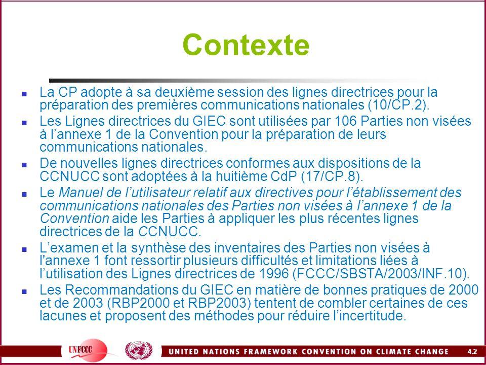 4.2 Contexte La CP adopte à sa deuxième session des lignes directrices pour la préparation des premières communications nationales (10/CP.2). Les Lign