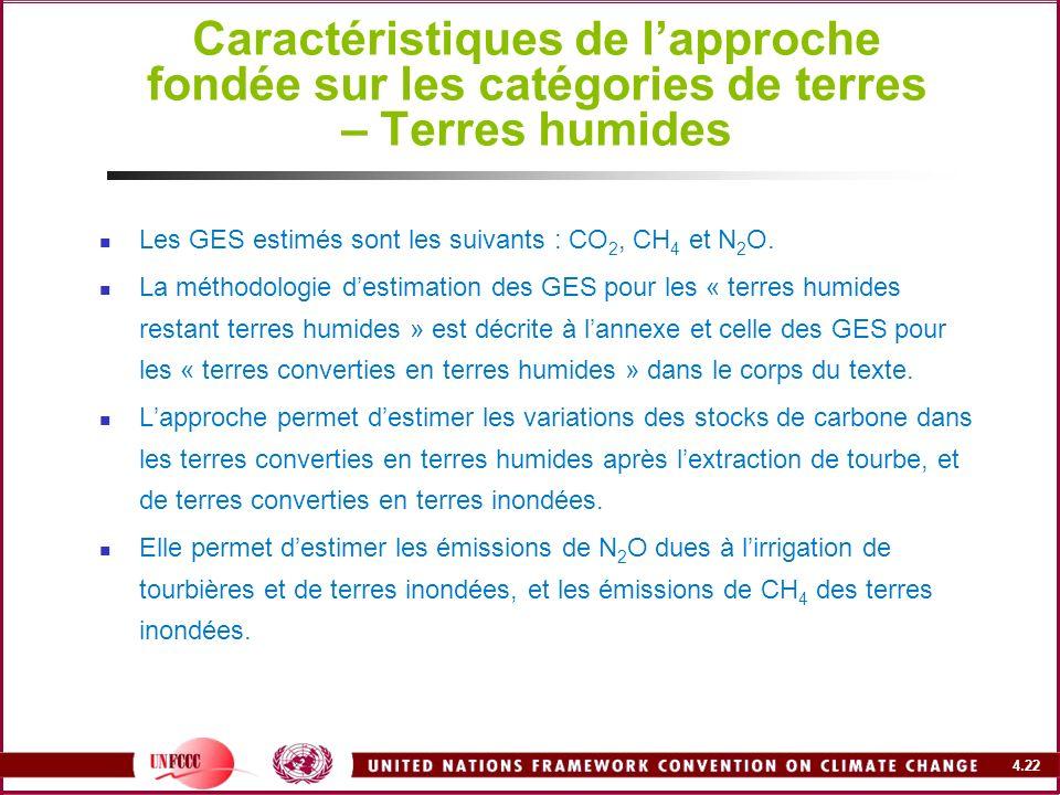 4.22 Caractéristiques de lapproche fondée sur les catégories de terres – Terres humides Les GES estimés sont les suivants : CO 2, CH 4 et N 2 O. La mé