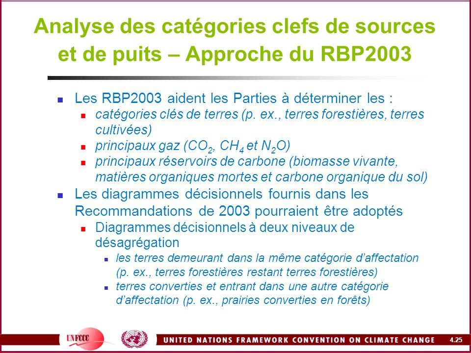 4.25 Analyse des catégories clefs de sources et de puits – Approche du RBP2003 Les RBP2003 aident les Parties à déterminer les : catégories clés de te