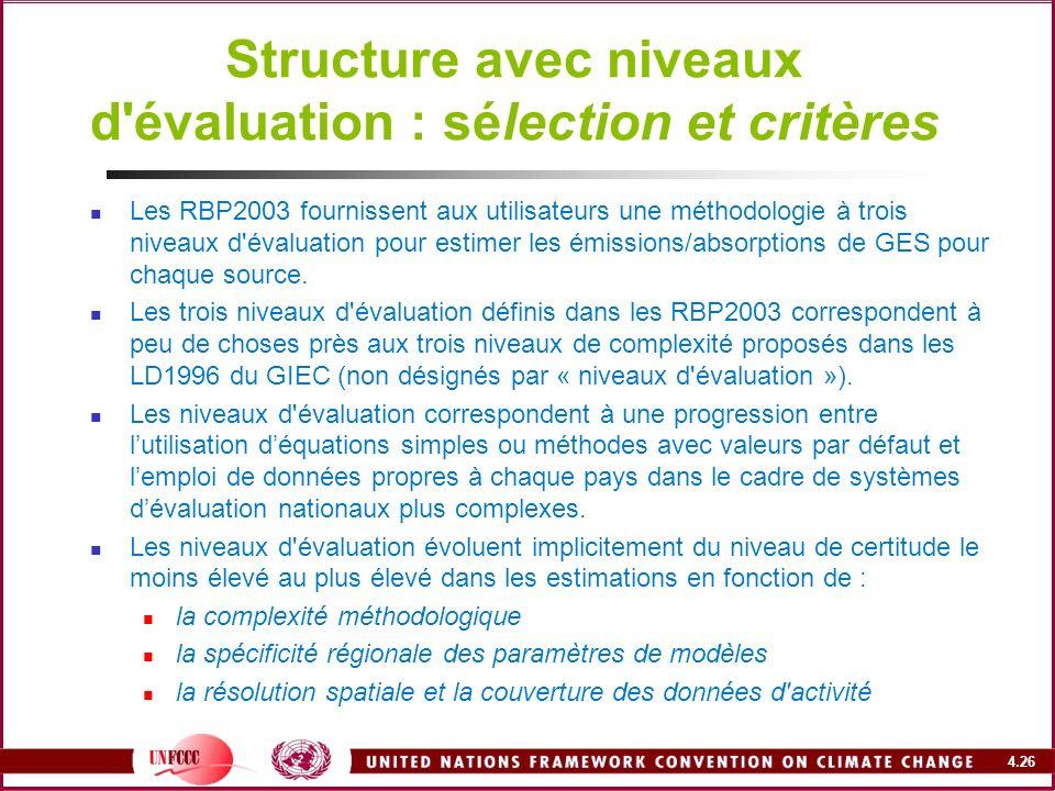 4.26 Structure avec niveaux d'évaluation : sélection et critères Les RBP2003 fournissent aux utilisateurs une méthodologie à trois niveaux d'évaluatio