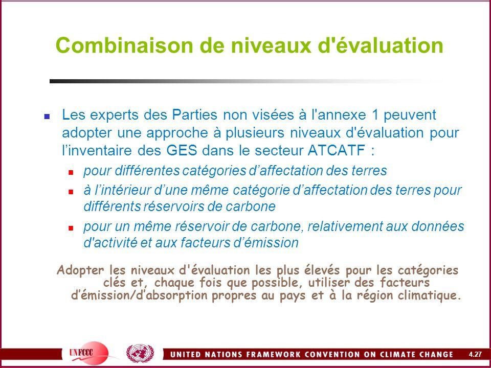4.27 Combinaison de niveaux d'évaluation Les experts des Parties non visées à l'annexe 1 peuvent adopter une approche à plusieurs niveaux d'évaluation