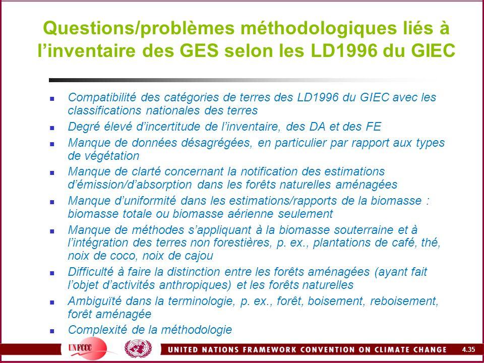 4.35 Questions/problèmes méthodologiques liés à linventaire des GES selon les LD1996 du GIEC Compatibilité des catégories de terres des LD1996 du GIEC