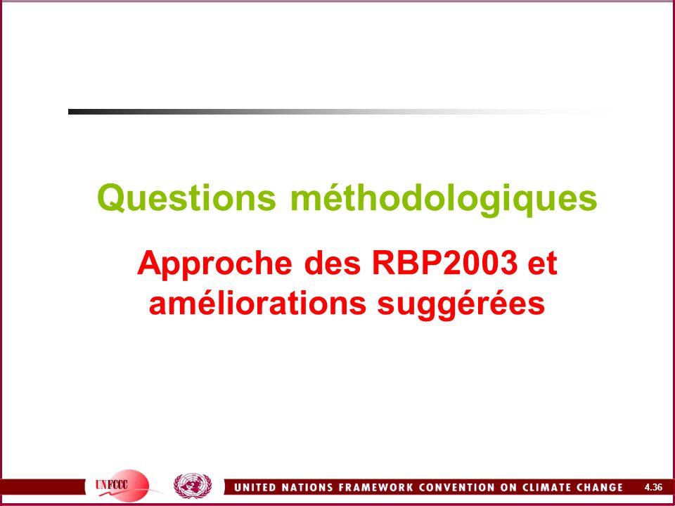 4.36 Questions méthodologiques Approche des RBP2003 et améliorations suggérées