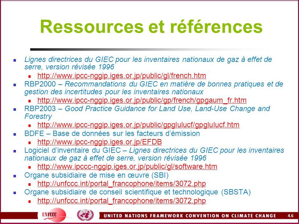 4.6 Ressources et références Lignes directrices du GIEC pour les inventaires nationaux de gaz à effet de serre, version révisée 1996 http://www.ipcc-n