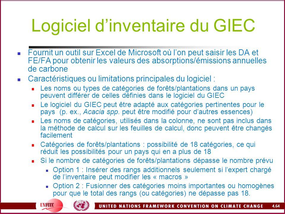 4.64 Logiciel dinventaire du GIEC Fournit un outil sur Excel de Microsoft où lon peut saisir les DA et FE/FA pour obtenir les valeurs des absorptions/