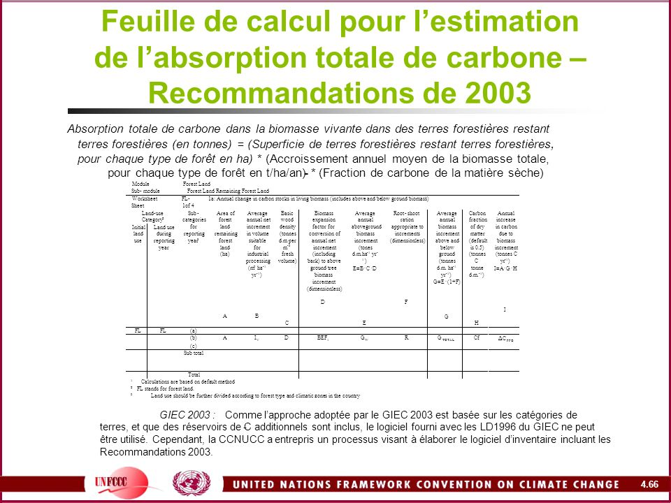 4.66 Feuille de calcul pour lestimation de labsorption totale de carbone – Recommandations de 2003 Absorption totale de carbone dans la biomasse vivan
