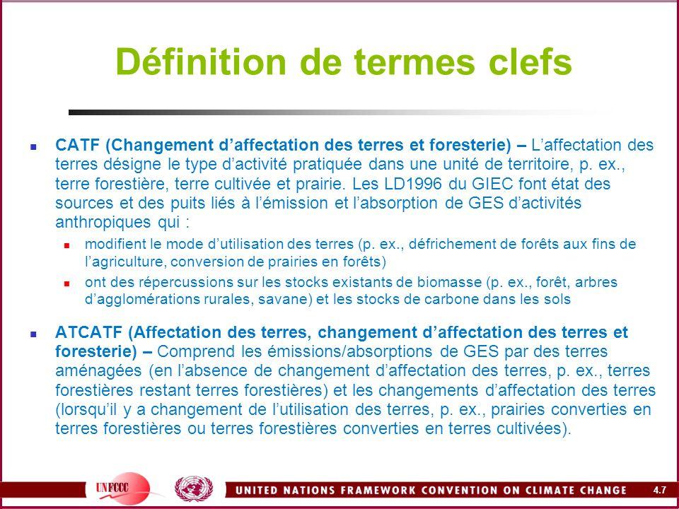 4.7 Définition de termes clefs CATF (Changement daffectation des terres et foresterie) – Laffectation des terres désigne le type dactivité pratiquée d