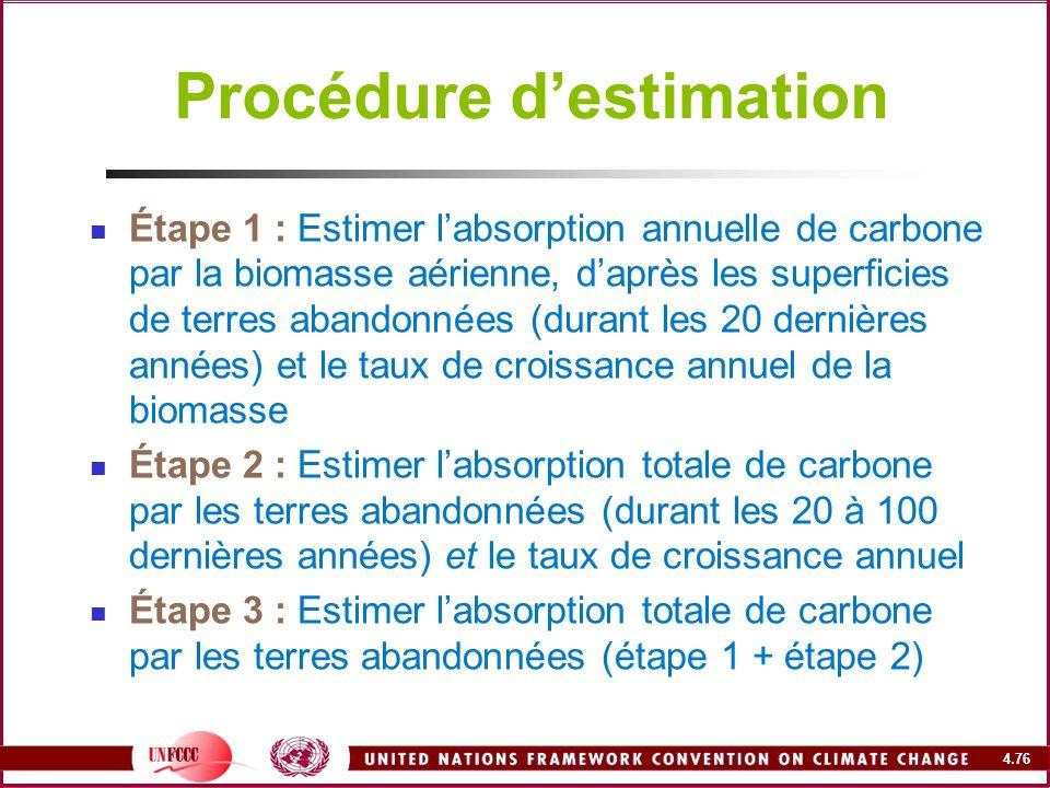 4.76 Procédure destimation Étape 1 : Estimer labsorption annuelle de carbone par la biomasse aérienne, daprès les superficies de terres abandonnées (d