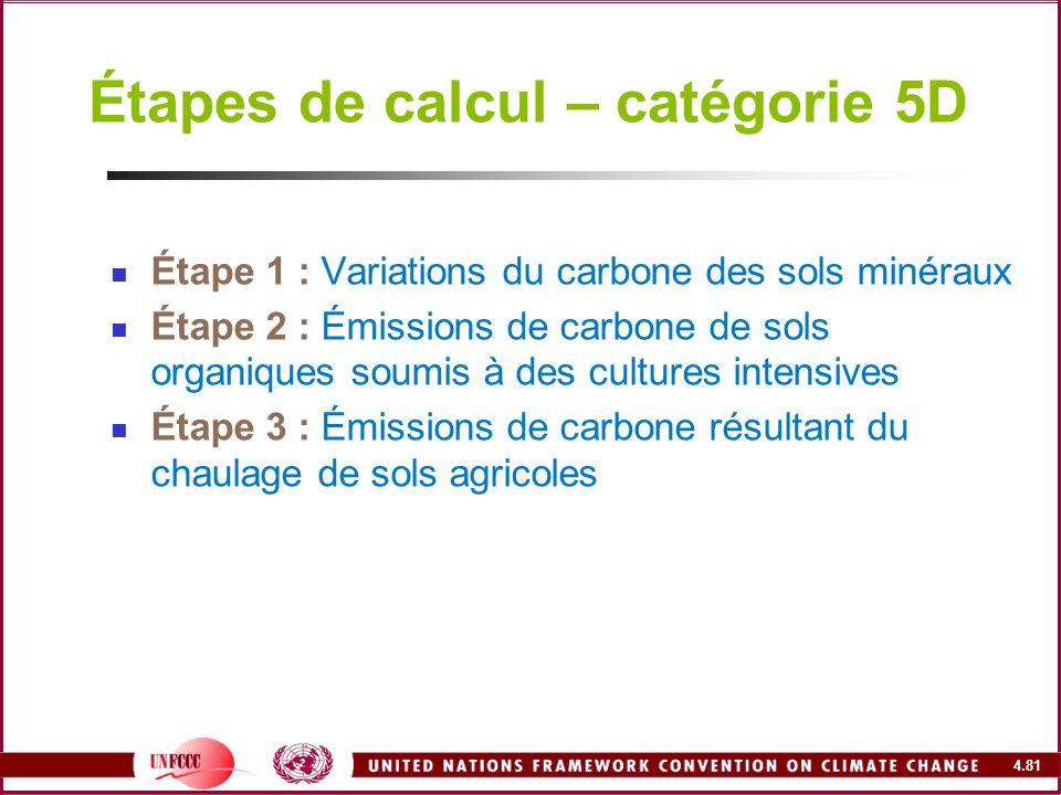 4.81 Étapes de calcul – catégorie 5D Étape 1 : Variations du carbone des sols minéraux Étape 2 : Émissions de carbone de sols organiques soumis à des