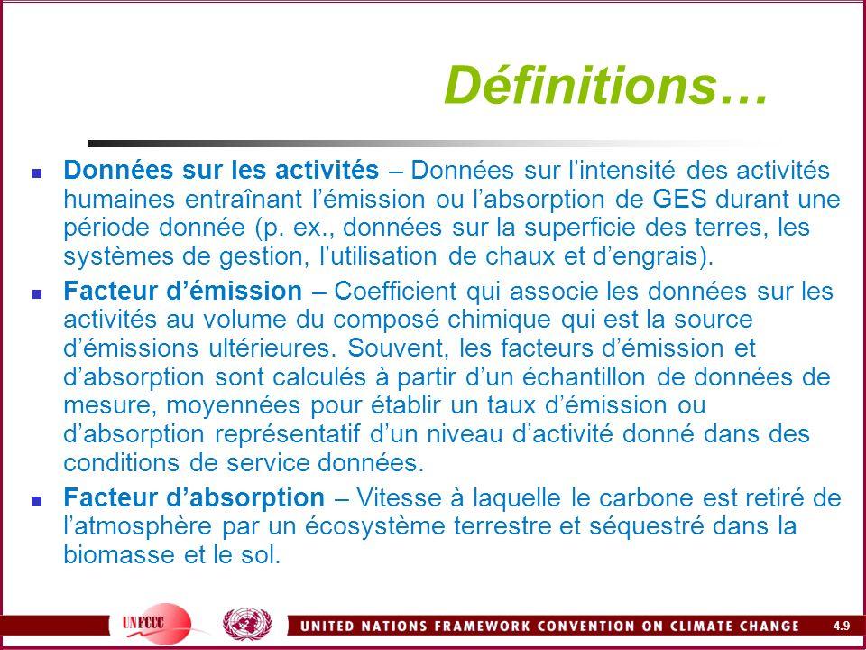 4.40 Problème : lapproche par défaut ne fournit pas de méthodes pour calculer la biomasse souterraine Problème : Estimation (ou différenciation) des forêts aménagées (touchées par des activités anthropiques) et des forêts naturelles Approche RBP2003Amélioration suggérée - Fournit des équations et méthodes pour corréler biomasse aérienne et souterraine - Fournit des valeurs par défaut pour estimer la biomasse souterraine à partir destimations de la biomasse aérienne - Estimer, par des études de terrain, les rapports biomasse aérienne/souterraine et les facteurs dexpansion pour divers types de forêts/plantations, âges, peuplements et systèmes de gestion Approche RBP2003Amélioration suggérée - Clarifie la définition de forêt aménagée et terre forestière - La représentation uniforme des terres (chapitre 2), tenant compte de toutes les catégories de terres et de toute la superficie du pays, assure linclusion de tout le territoire et évite la double comptabilisation - Entreprendre une surveillance par satellite ou par télédétection des forêts aménagées et naturelles - Les pays peuvent utiliser les cartes par satellite dorganismes comme la FAO, le PNUE, la NASA et dautres agences régionales et internationales - Si la surveillance par satellite nest pas réalisable, on peut utiliser des méthodes traditionnelles