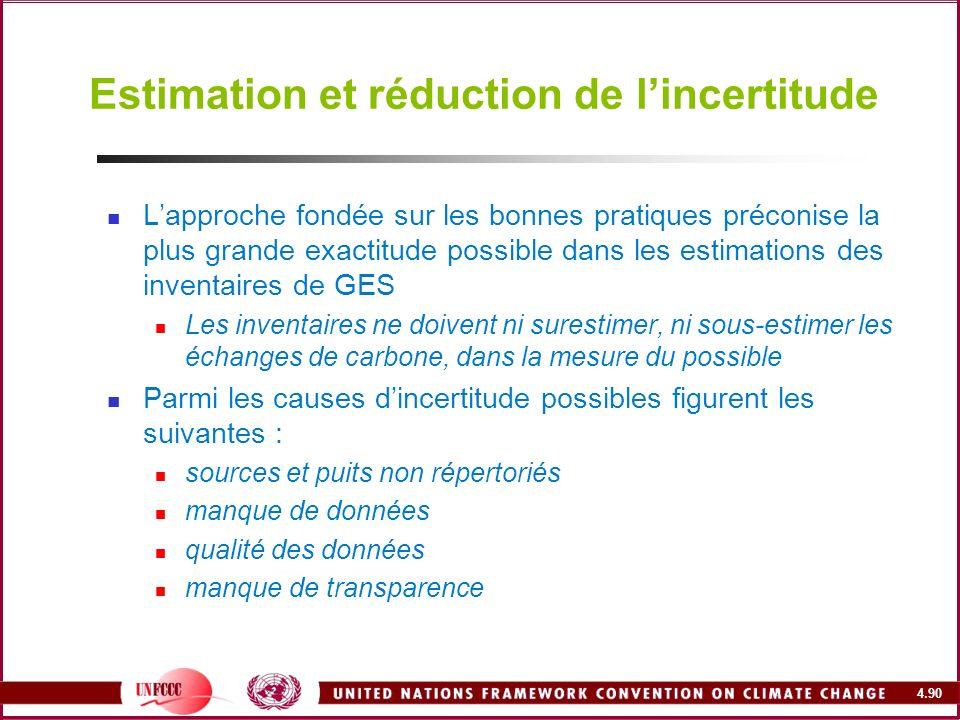 4.90 Estimation et réduction de lincertitude Lapproche fondée sur les bonnes pratiques préconise la plus grande exactitude possible dans les estimatio