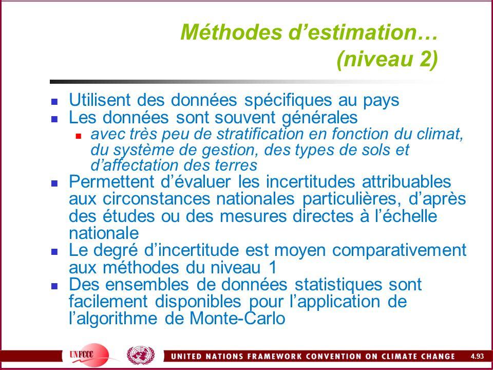 4.93 Méthodes destimation… (niveau 2) Utilisent des données spécifiques au pays Les données sont souvent générales avec très peu de stratification en
