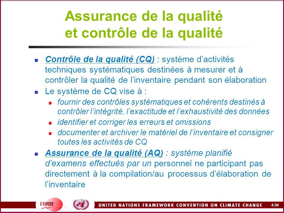 4.94 Assurance de la qualité et contrôle de la qualité Contrôle de la qualité (CQ) : système dactivités techniques systématiques destinées à mesurer e