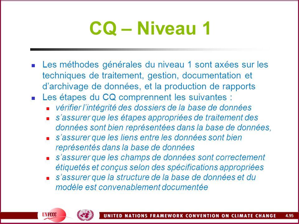 4.95 CQ – Niveau 1 Les méthodes générales du niveau 1 sont axées sur les techniques de traitement, gestion, documentation et darchivage de données, et