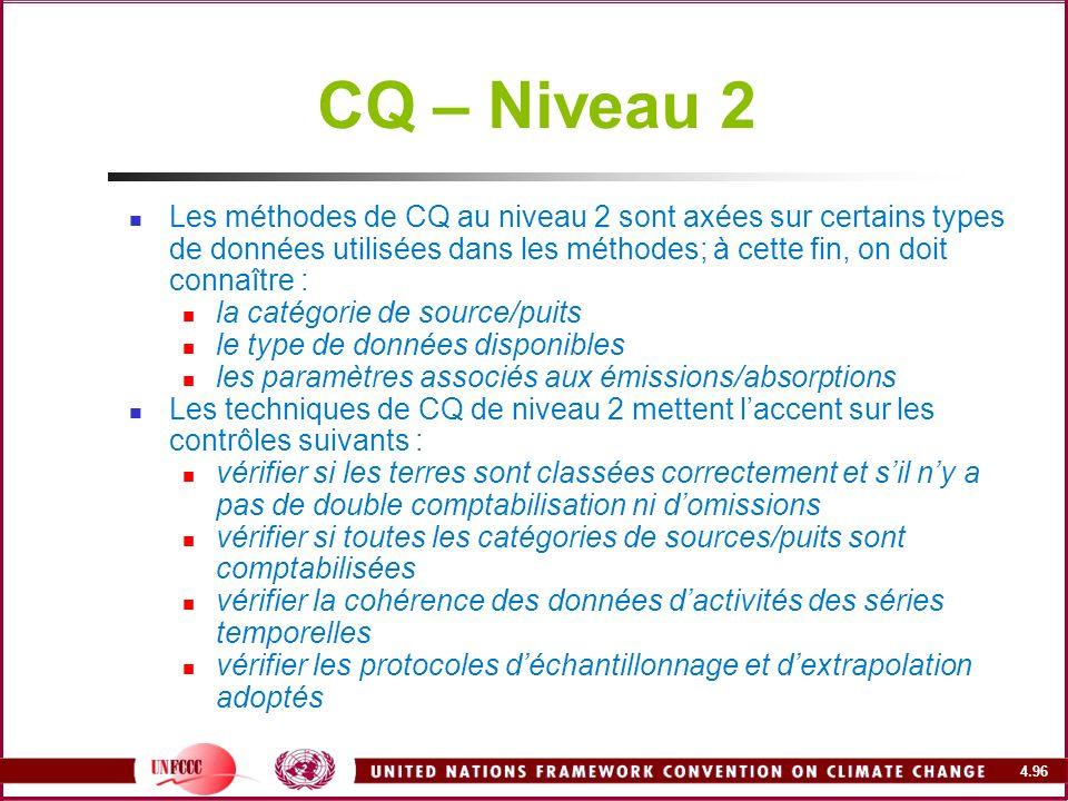 4.96 CQ – Niveau 2 Les méthodes de CQ au niveau 2 sont axées sur certains types de données utilisées dans les méthodes; à cette fin, on doit connaître