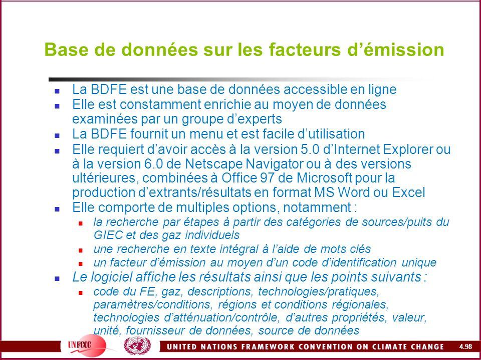 4.98 Base de données sur les facteurs démission La BDFE est une base de données accessible en ligne Elle est constamment enrichie au moyen de données