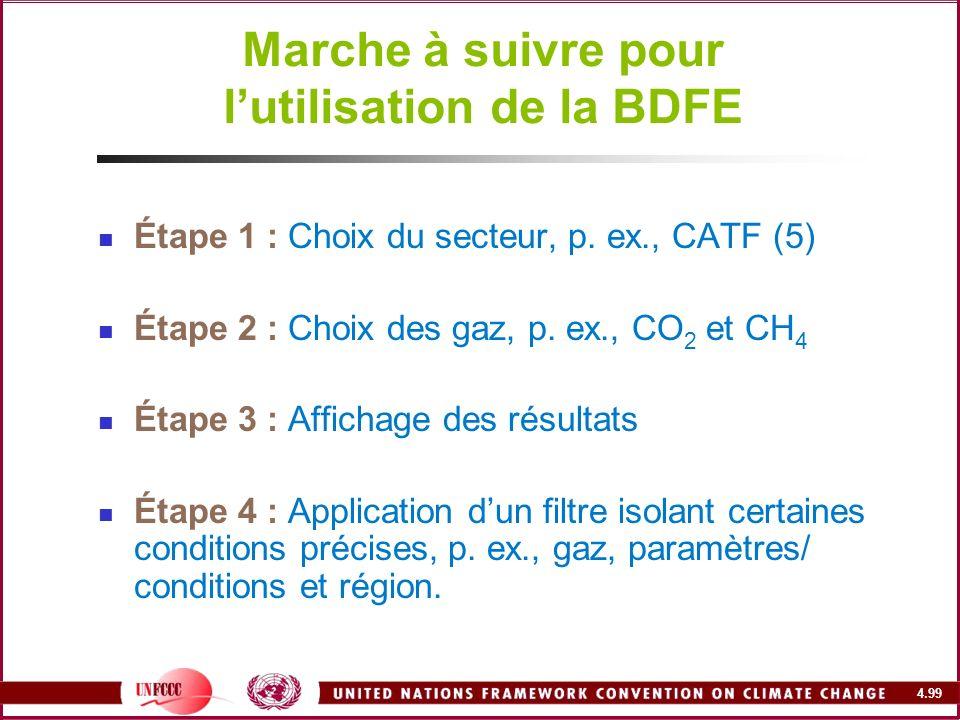 4.99 Marche à suivre pour lutilisation de la BDFE Étape 1 : Choix du secteur, p. ex., CATF (5) Étape 2 : Choix des gaz, p. ex., CO 2 et CH 4 Étape 3 :