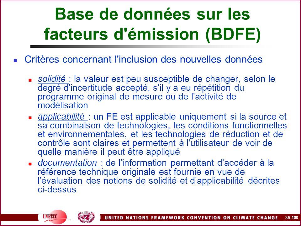 3A.100 Base de données sur les facteurs d'émission (BDFE) Critères concernant l'inclusion des nouvelles données solidité : la valeur est peu susceptib