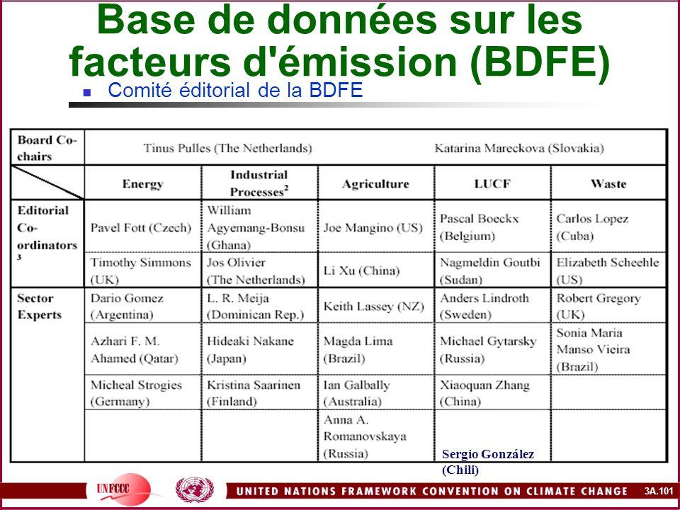 3A.101 Base de données sur les facteurs d'émission (BDFE) Comité éditorial de la BDFE Sergio González (Chili)