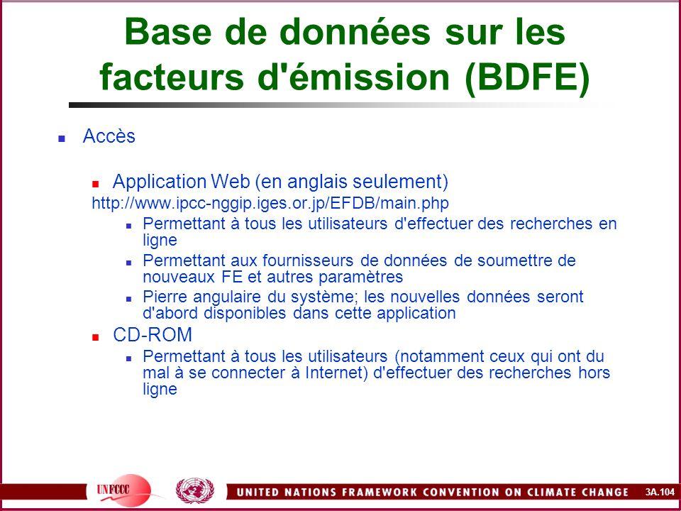 3A.104 Base de données sur les facteurs d'émission (BDFE) Accès Application Web (en anglais seulement) http://www.ipcc-nggip.iges.or.jp/EFDB/main.php