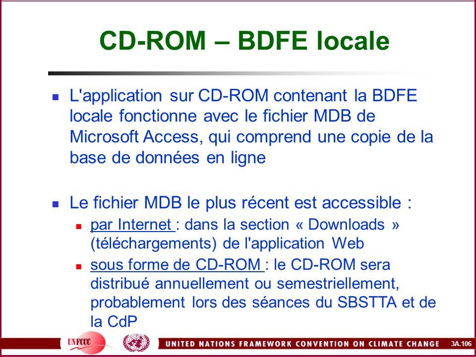 3A.106 CD-ROM – BDFE locale L'application sur CD-ROM contenant la BDFE locale fonctionne avec le fichier MDB de Microsoft Access, qui comprend une cop