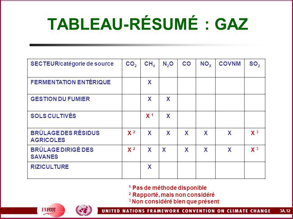 3A.12 TABLEAU-RÉSUMÉ : GAZ SECTEUR/catégorie de sourceCO 2 CH 4 N2ON2OCONO X COVNMSO 2 FERMENTATION ENTÉRIQUEX GESTION DU FUMIERXX SOLS CULTIVÉSX 1 X