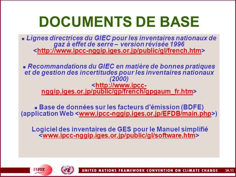 3A.13 DOCUMENTS DE BASE Lignes directrices du GIEC pour les inventaires nationaux de gaz à effet de serre – version révisée 1996 Recommandations du GI