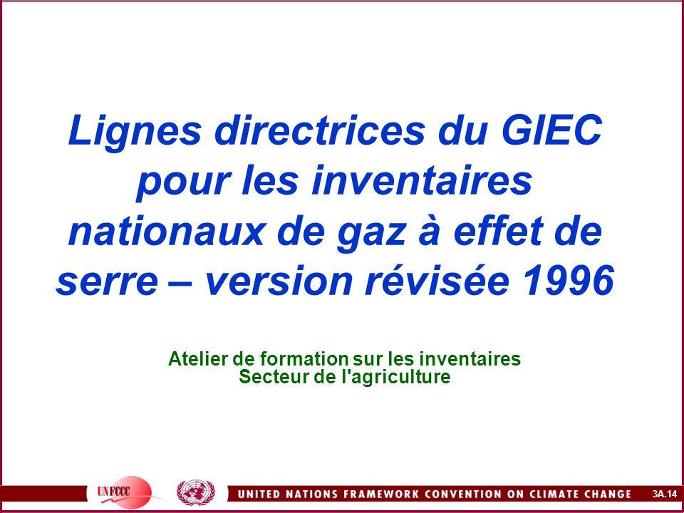 3A.14 Lignes directrices du GIEC pour les inventaires nationaux de gaz à effet de serre – version révisée 1996 Atelier de formation sur les inventaire