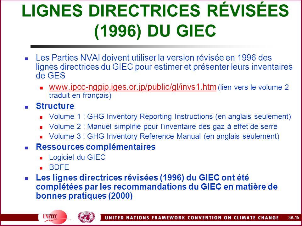 3A.15 LIGNES DIRECTRICES RÉVISÉES (1996) DU GIEC Les Parties NVAI doivent utiliser la version révisée en 1996 des lignes directrices du GIEC pour esti