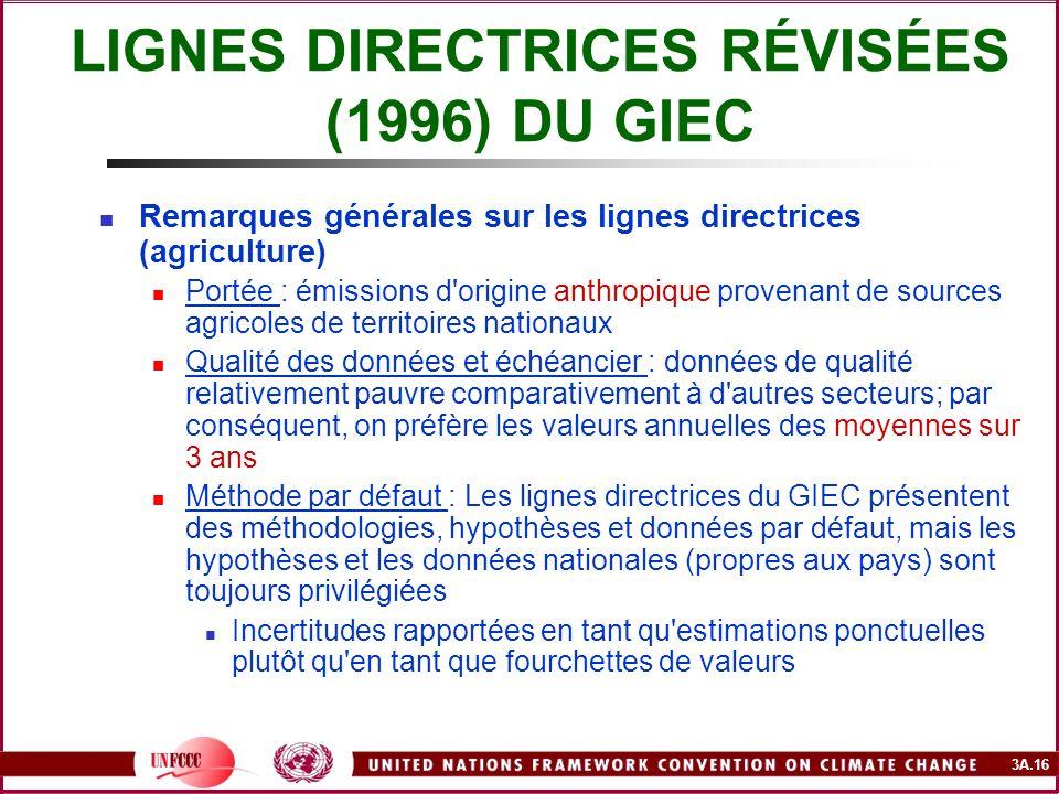 3A.16 LIGNES DIRECTRICES RÉVISÉES (1996) DU GIEC Remarques générales sur les lignes directrices (agriculture) Portée : émissions d'origine anthropique