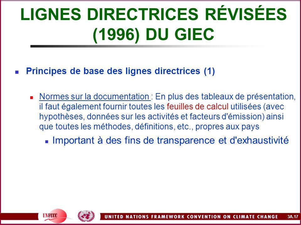 3A.17 LIGNES DIRECTRICES RÉVISÉES (1996) DU GIEC Principes de base des lignes directrices (1) Normes sur la documentation : En plus des tableaux de pr
