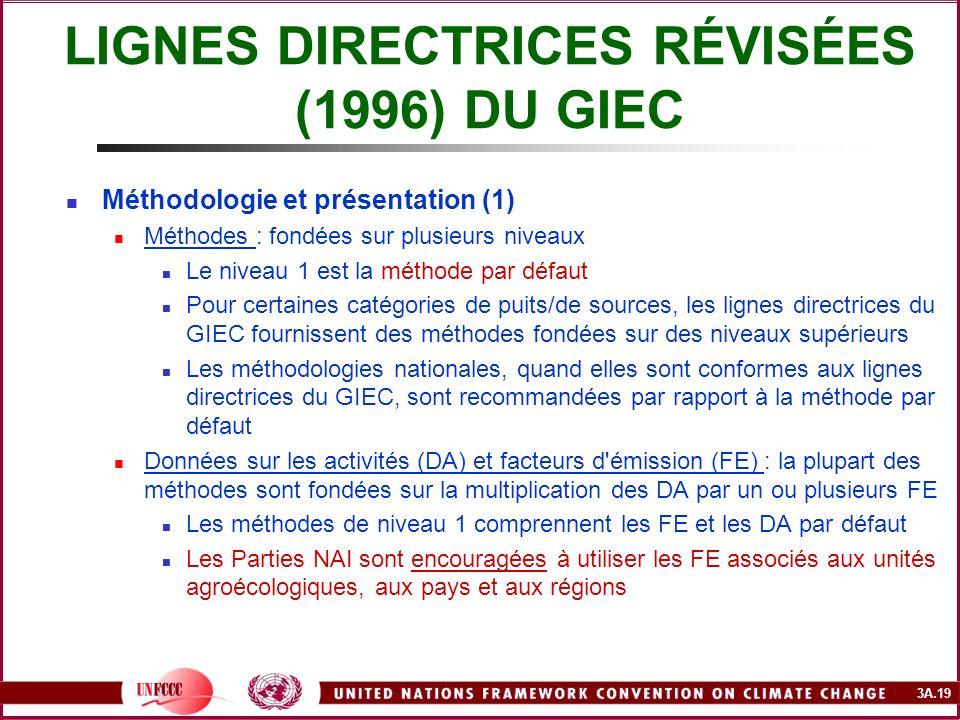 3A.19 LIGNES DIRECTRICES RÉVISÉES (1996) DU GIEC Méthodologie et présentation (1) Méthodes : fondées sur plusieurs niveaux Le niveau 1 est la méthode