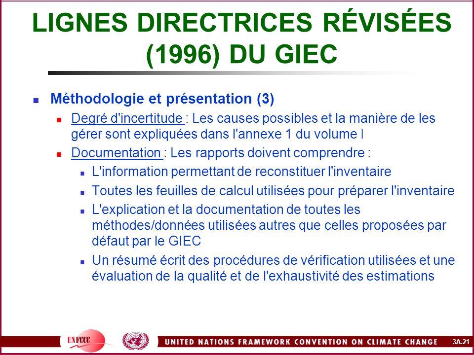 3A.21 LIGNES DIRECTRICES RÉVISÉES (1996) DU GIEC Méthodologie et présentation (3) Degré d'incertitude : Les causes possibles et la manière de les gére