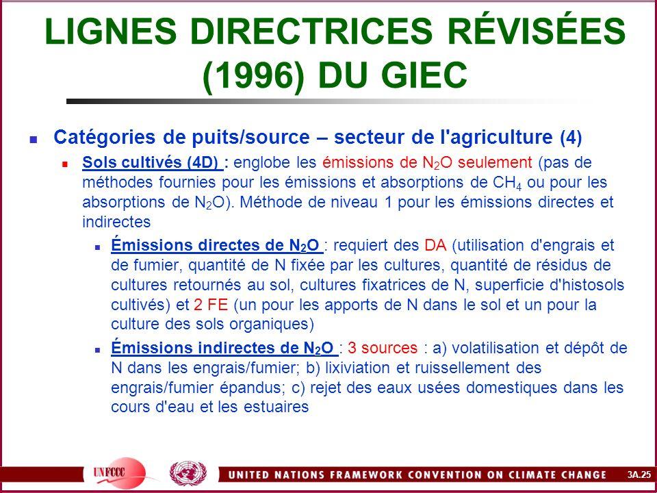 3A.25 LIGNES DIRECTRICES RÉVISÉES (1996) DU GIEC Catégories de puits/source – secteur de l'agriculture (4) Sols cultivés (4D) : englobe les émissions