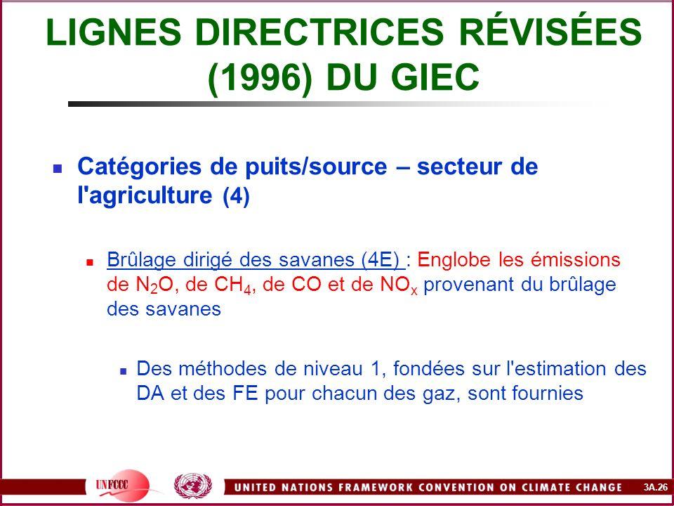 3A.26 LIGNES DIRECTRICES RÉVISÉES (1996) DU GIEC Catégories de puits/source – secteur de l'agriculture (4) Brûlage dirigé des savanes (4E) : Englobe l