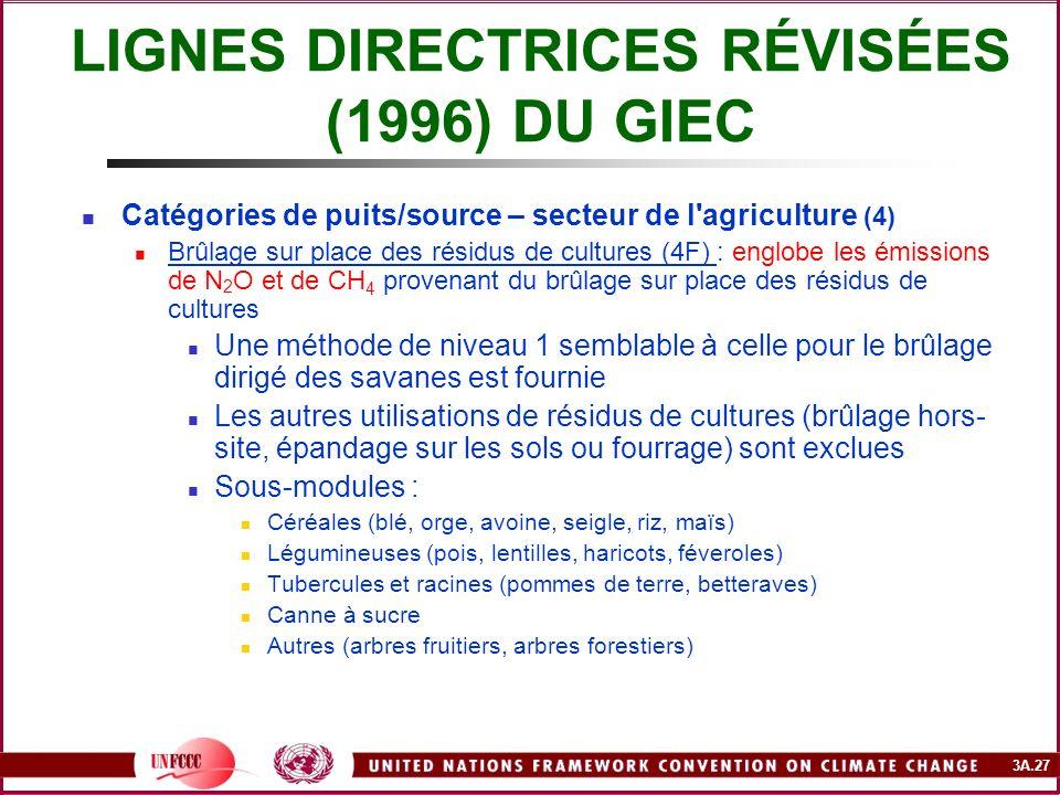 3A.27 LIGNES DIRECTRICES RÉVISÉES (1996) DU GIEC Catégories de puits/source – secteur de l'agriculture (4) Brûlage sur place des résidus de cultures (