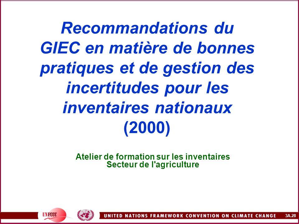 3A.28 Recommandations du GIEC en matière de bonnes pratiques et de gestion des incertitudes pour les inventaires nationaux (2000) Atelier de formation