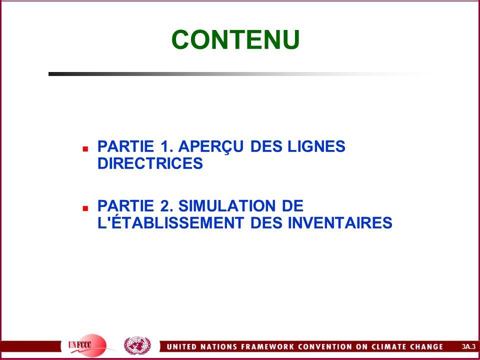3A.4 PARTIE 1 CONTENU DE L APERÇU DES LIGNES DIRECTRICES Principes et définitions Lignes directrices du GIEC pour les inventaires nationaux de gaz à effet de serre – version révisée 1996 Recommandations du GIEC en matière de bonnes pratiques et de gestion des incertitudes pour les inventaires nationaux (2000) Base de données sur les facteurs d émission (BDFE) Logiciel du GIEC