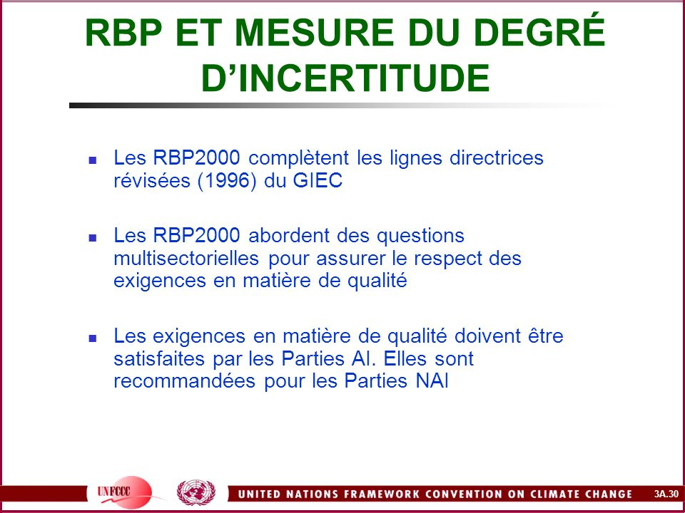 3A.30 Les RBP2000 complètent les lignes directrices révisées (1996) du GIEC Les RBP2000 abordent des questions multisectorielles pour assurer le respe