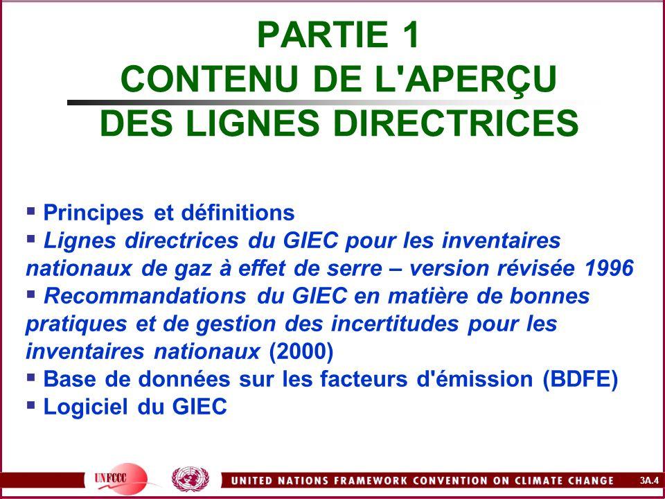 3A.4 PARTIE 1 CONTENU DE L'APERÇU DES LIGNES DIRECTRICES Principes et définitions Lignes directrices du GIEC pour les inventaires nationaux de gaz à e