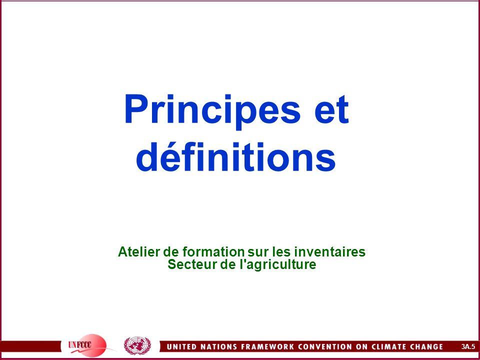 3A.5 Principes et définitions Atelier de formation sur les inventaires Secteur de l'agriculture