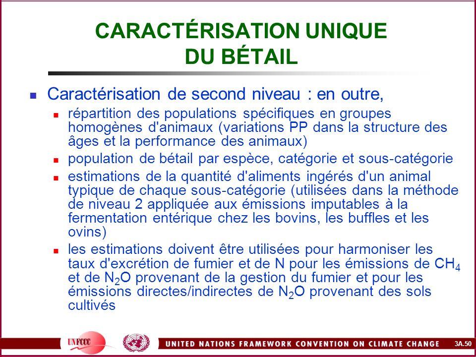 3A.50 CARACTÉRISATION UNIQUE DU BÉTAIL Caractérisation de second niveau : en outre, répartition des populations spécifiques en groupes homogènes d'ani
