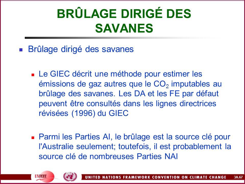 3A.67 BRÛLAGE DIRIGÉ DES SAVANES Brûlage dirigé des savanes Le GIEC décrit une méthode pour estimer les émissions de gaz autres que le CO 2 imputables