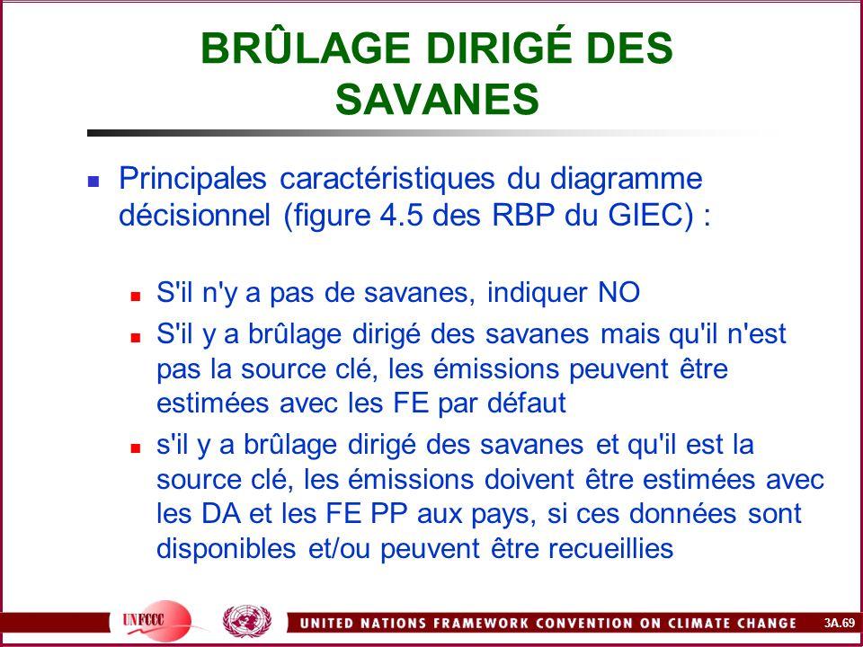 3A.69 BRÛLAGE DIRIGÉ DES SAVANES Principales caractéristiques du diagramme décisionnel (figure 4.5 des RBP du GIEC) : S'il n'y a pas de savanes, indiq