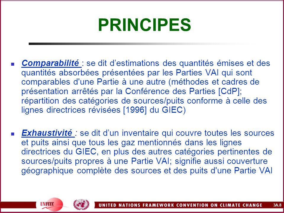 3A.8 PRINCIPES Comparabilité : se dit destimations des quantités émises et des quantités absorbées présentées par les Parties VAI qui sont comparables