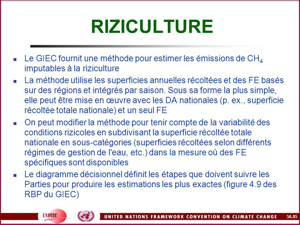 3A.85 RIZICULTURE Le GIEC fournit une méthode pour estimer les émissions de CH 4 imputables à la riziculture La méthode utilise les superficies annuel